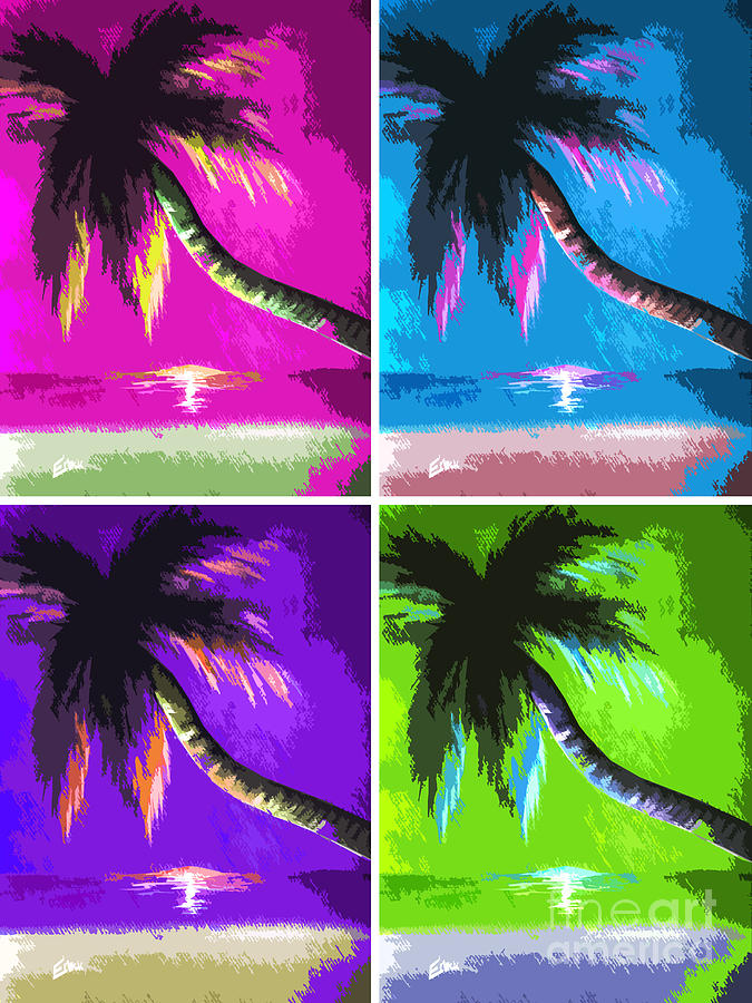 Palm Trees By Shawna Erback Painting  - Palm Trees By Shawna Erback Fine Art Print