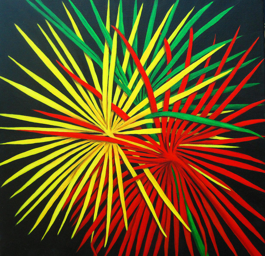 Abstract Palm Leaves Painting - Palms Bursting by Roseann Gilmore