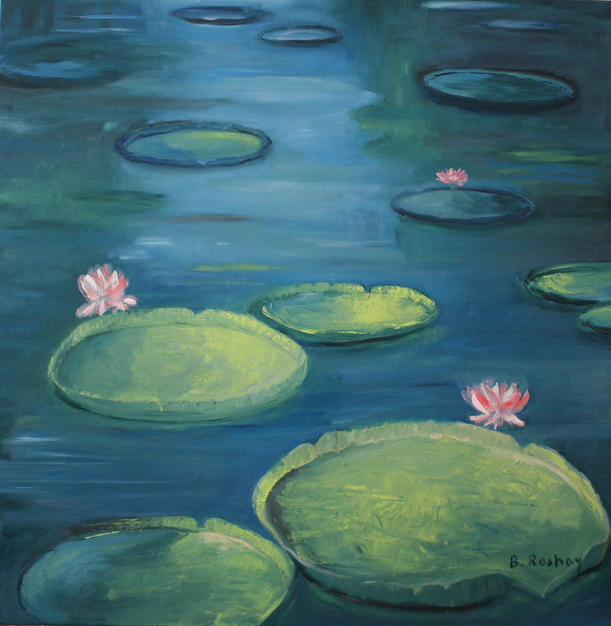 Pamplemousse Water Lilies Painting
