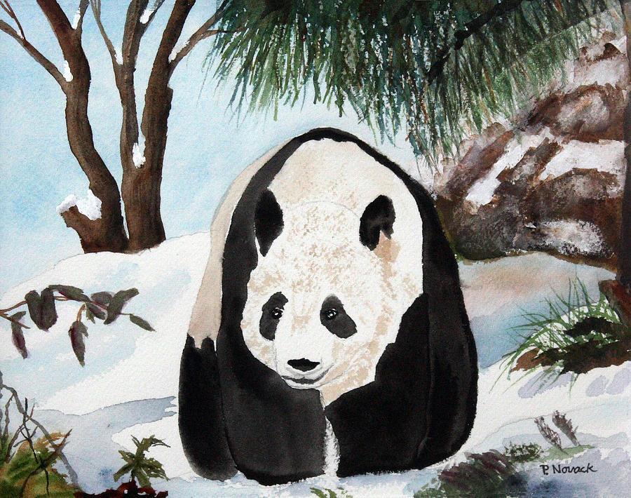Panda Painting - Panda On Ice by Patricia Novack