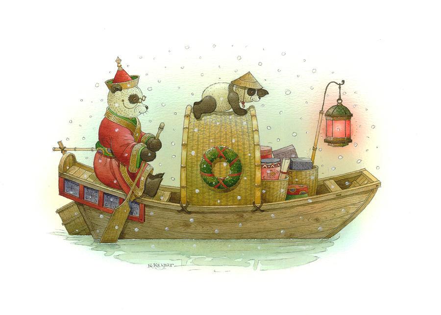 Pandabears Christmas Painting