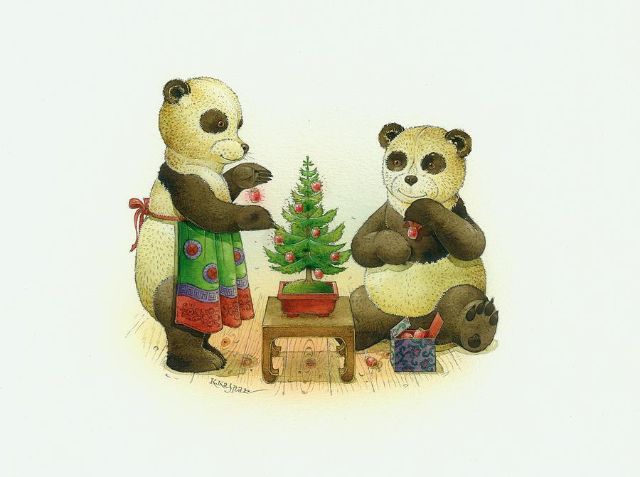 Christmas Greetin Card Pandas Winter Christmas Tree Painting - Pandabears Cristmas 02 by Kestutis Kasparavicius