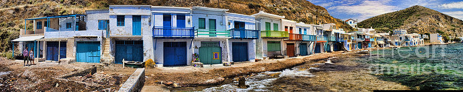Panorama Of Tiny Colorful Fishing Huts In Milos Photograph