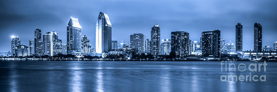 Panorama Of Blue San Diego Skyline At Night Photograph