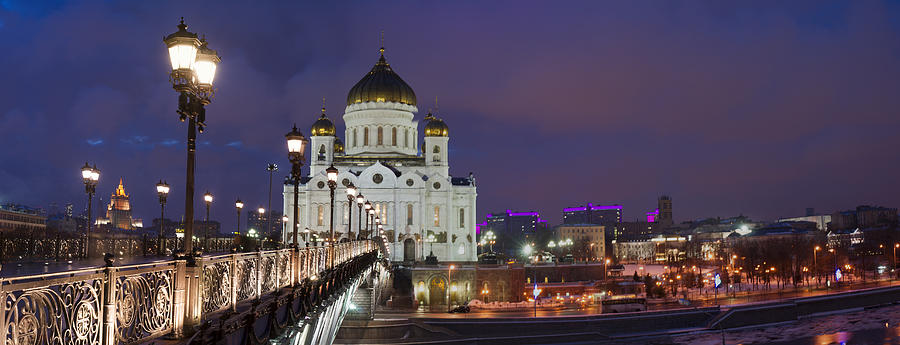 Panorama Of Moscow Cathedral Of The Christ The Savior - Featured 3 Photograph