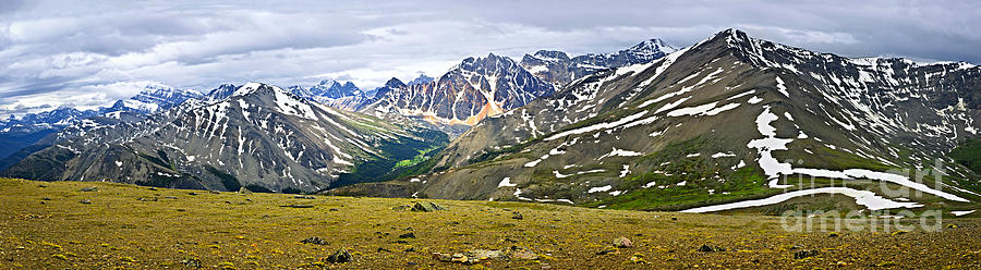 Panorama Of Rocky Mountains In Jasper National Park Photograph  - Panorama Of Rocky Mountains In Jasper National Park Fine Art Print