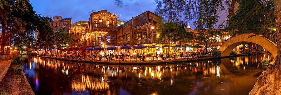 San Photograph - Panorama Of San Antonio Riverwalk At Dusk - Texas by Silvio Ligutti
