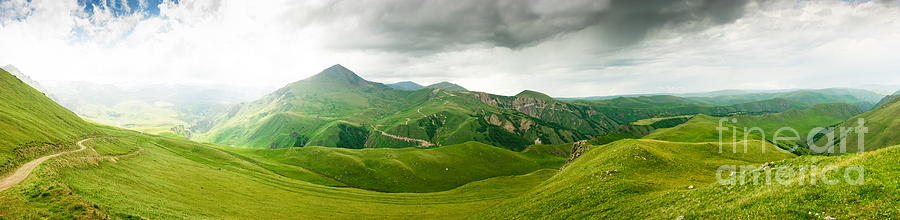 Panoramic Green Mountains Photograph