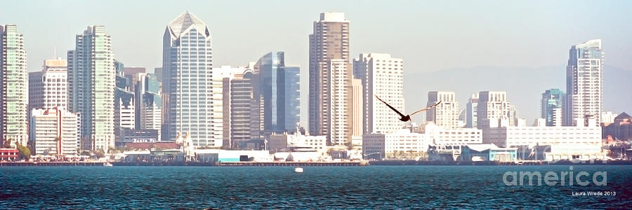 Panoramic Image Of San Diego From The Harbor Photograph