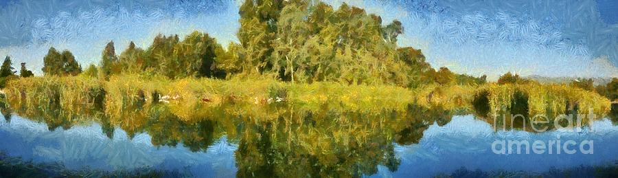 Panoramic Painting Of Ducks Lake Painting  - Panoramic Painting Of Ducks Lake Fine Art Print