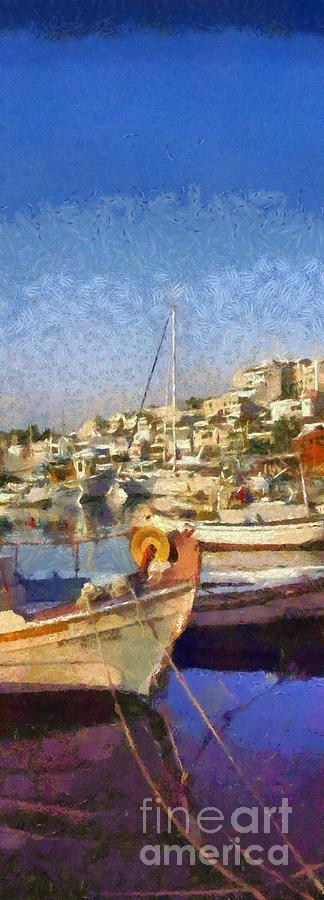 Panoramic Painting Of Mikrolimano Port Painting  - Panoramic Painting Of Mikrolimano Port Fine Art Print