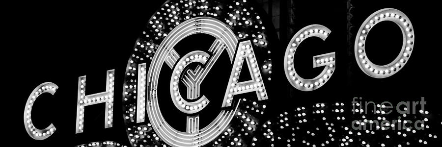 Panoramic Photo Of Chicago Theatre Sign In Black And White Photograph