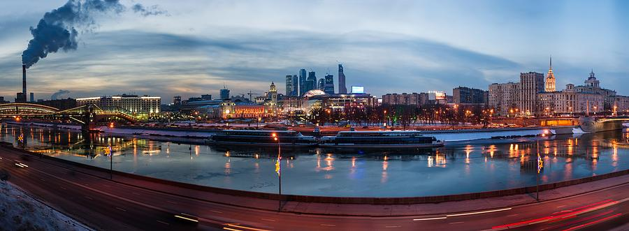 Panoramic View Of Moscow River - Kiev Railway Station And Square Of Europe - Featured 3 Photograph  - Panoramic View Of Moscow River - Kiev Railway Station And Square Of Europe - Featured 3 Fine Art Print