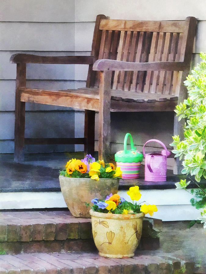 Pansies And Watering Cans On Steps Photograph  - Pansies And Watering Cans On Steps Fine Art Print