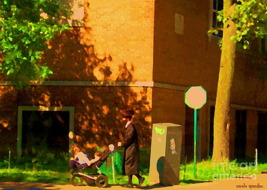 Papa And The Little Ones Sunday Afternoon Stroll On The Avenues Montreal City Scene Carole Spandau Painting  - Papa And The Little Ones Sunday Afternoon Stroll On The Avenues Montreal City Scene Carole Spandau Fine Art Print