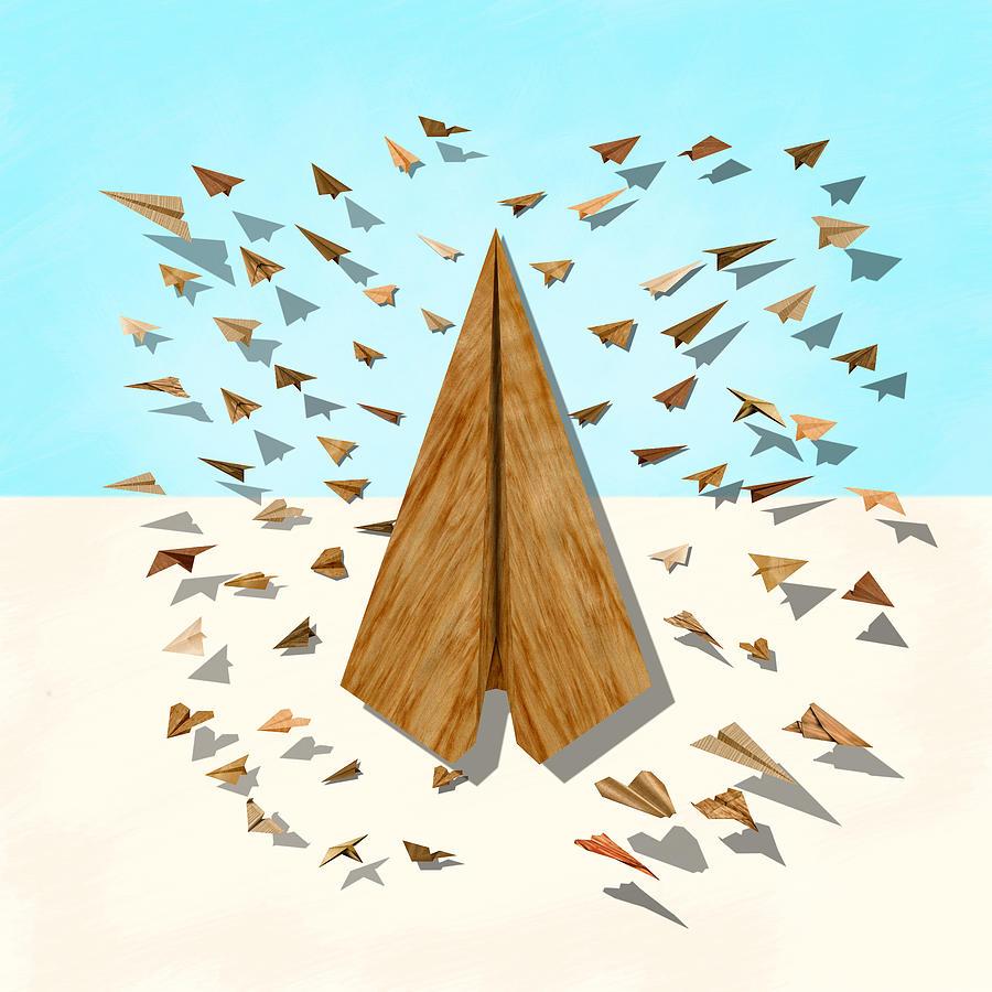 Paper Airplanes Of Wood 10 Digital Art
