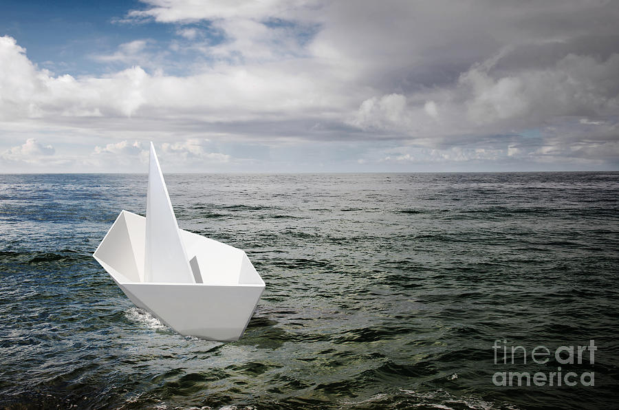 Abstract Photograph - Paper Boat by Carlos Caetano