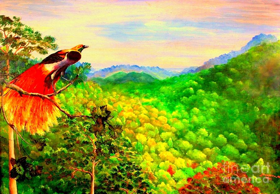 Paradise Bird Of Papua Painting