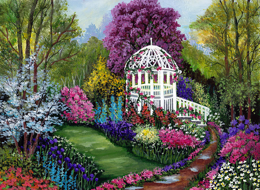 Paradise Garden Painting By Bonnie Cook