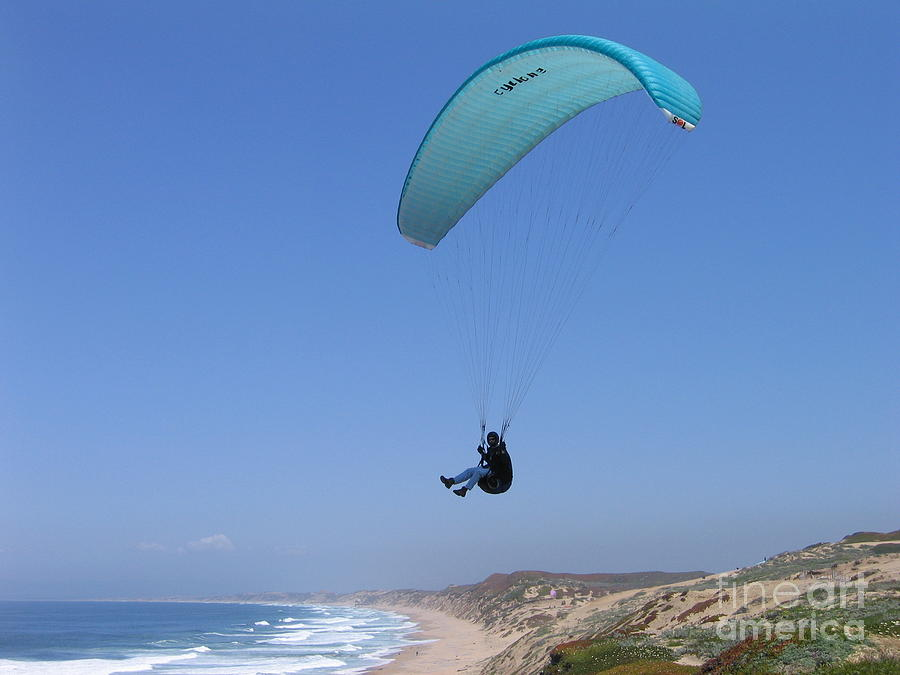 Paraglider Over Sand City Photograph