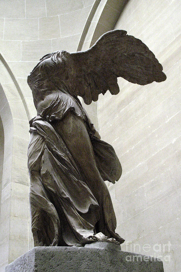 Louvre Museum Statues Photograph - Paris Angel Louvre Museum- Winged Victory Of Samothrace by Kathy Fornal