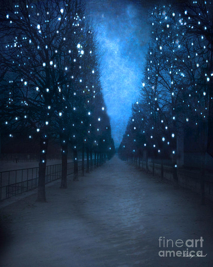 Paris Blue Surreal Fantasy Sparkling Trees - The Tuileries Park Photograph  - Paris Blue Surreal Fantasy Sparkling Trees - The Tuileries Park Fine Art Print