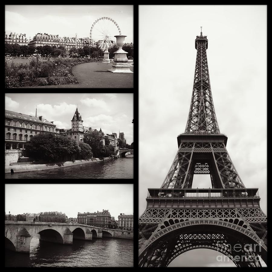 Paris Collage - Black And White Photograph by Carol Groenen