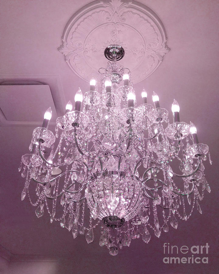 Paris Crystal Chandelier Dreamy Romantic Pink Sparkliing