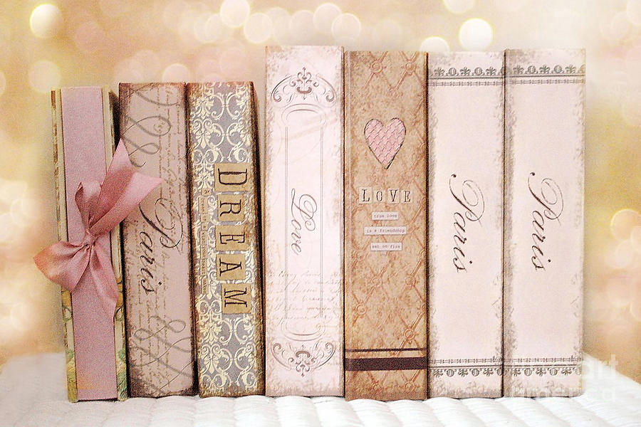 Paris Dreamy Shabby Chic Romantic Pink Cottage Books Love Dreams Paris Collection Pastel Books Photograph  - Paris Dreamy Shabby Chic Romantic Pink Cottage Books Love Dreams Paris Collection Pastel Books Fine Art Print