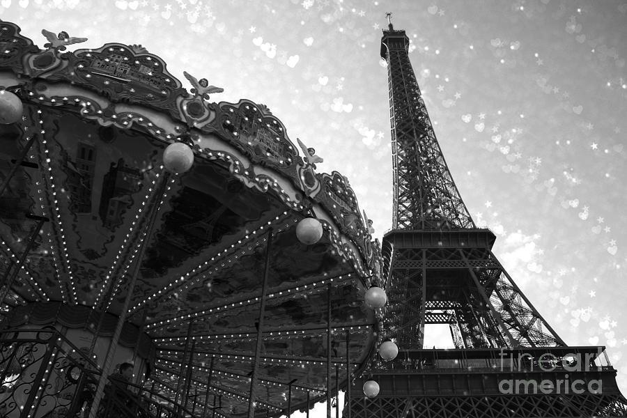 Paris Eiffel Tower Carousel Black White Surreal Photo