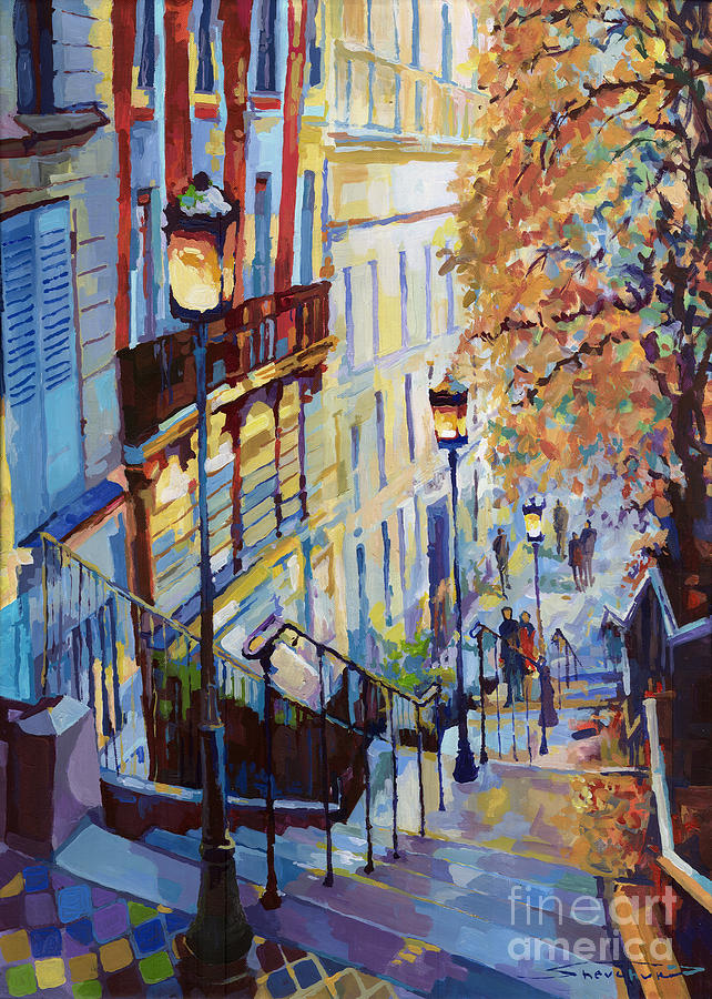 Paris Monmartr Steps Painting  - Paris Monmartr Steps Fine Art Print