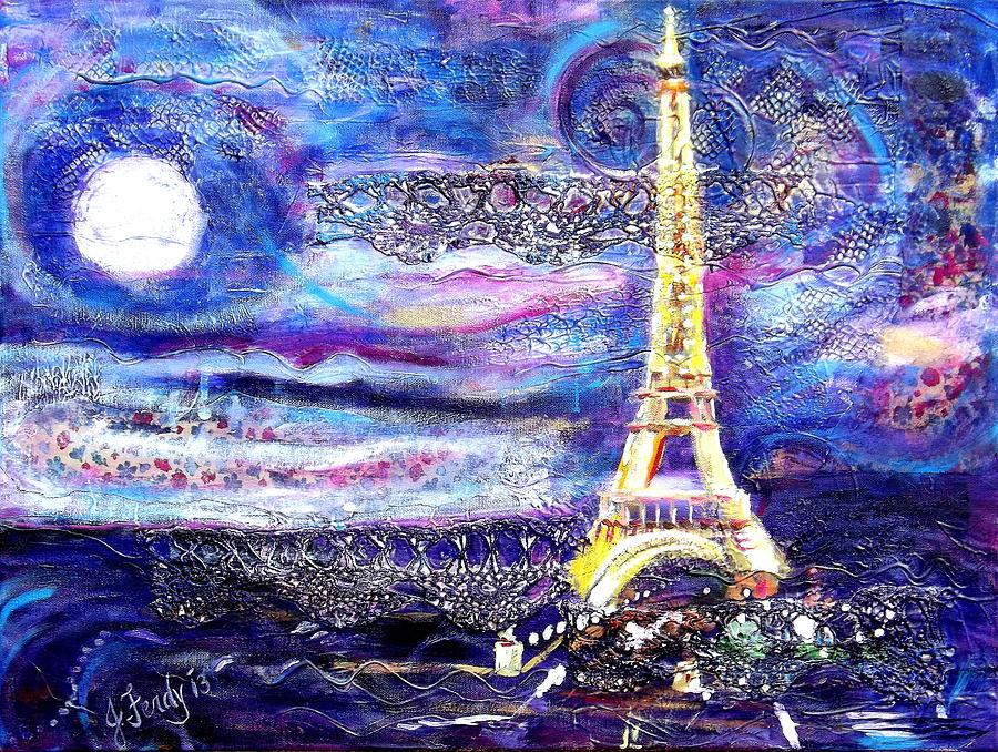 Paris Night Painting By Jennifer Ferdinandsen