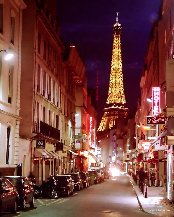 Paris romantic night lights mixed media by alex khomoutov for Romantic evening in paris