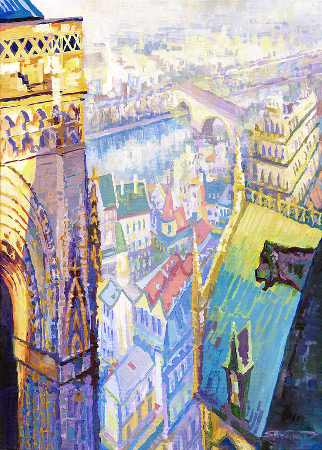 Acrilic On Canvas Painting - Paris Shadow Notre Dame De Paris by Yuriy  Shevchuk