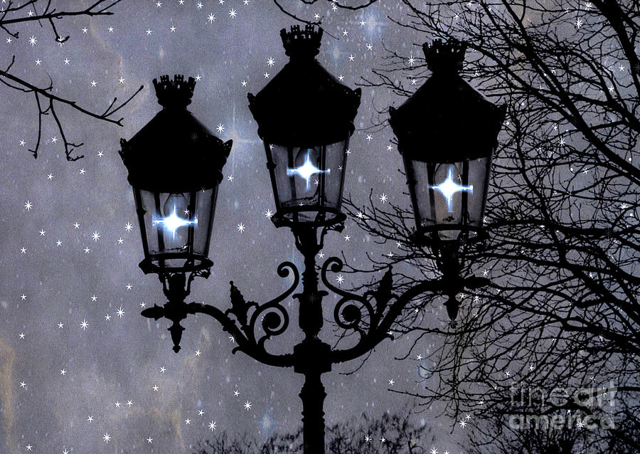 Paris Street Lights Lanterns - Paris Starry Night Dreamy Surreal Starlit Night Street Lamps Of Paris Photograph