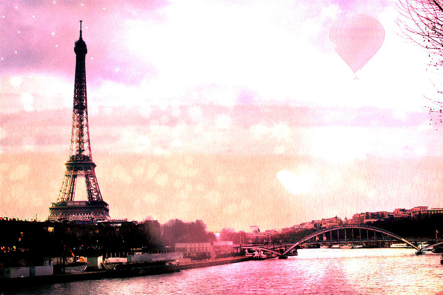 Paris Surreal Eiffel Tower Pink Yellow Abstract Photograph  - Paris Surreal Eiffel Tower Pink Yellow Abstract Fine Art Print