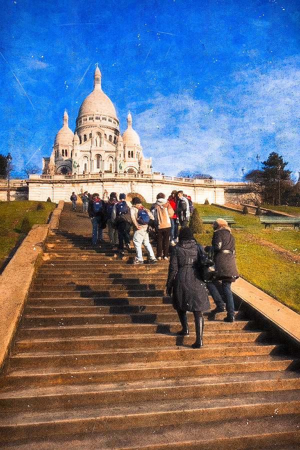 Paris - The Long Climb To Sacre Coeur Photograph  - Paris - The Long Climb To Sacre Coeur Fine Art Print
