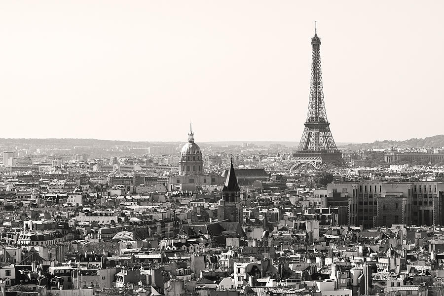 Paris With Eiffel Tower In Black And White Photograph by ...