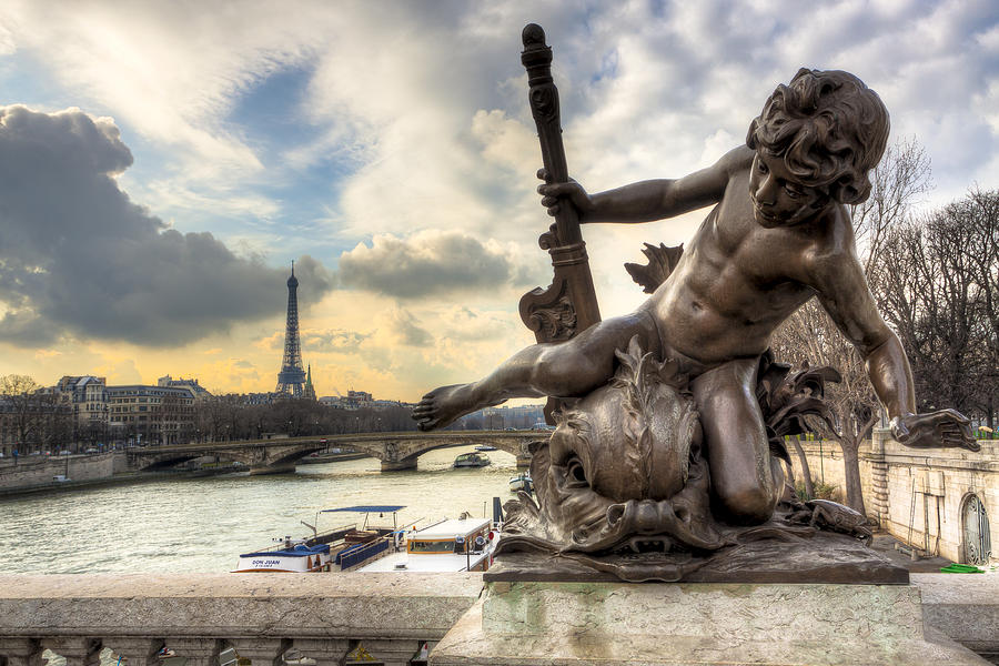 Parisian Cherub On The Pont Alexandre IIi Photograph  - Parisian Cherub On The Pont Alexandre IIi Fine Art Print