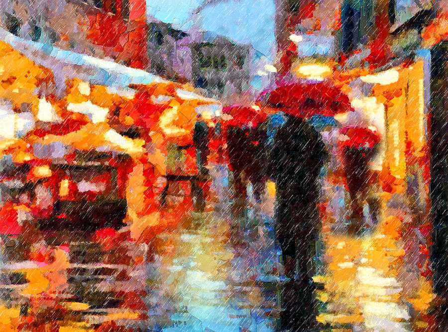 Parisian Rain Walk Abstract Realism Painting  - Parisian Rain Walk Abstract Realism Fine Art Print