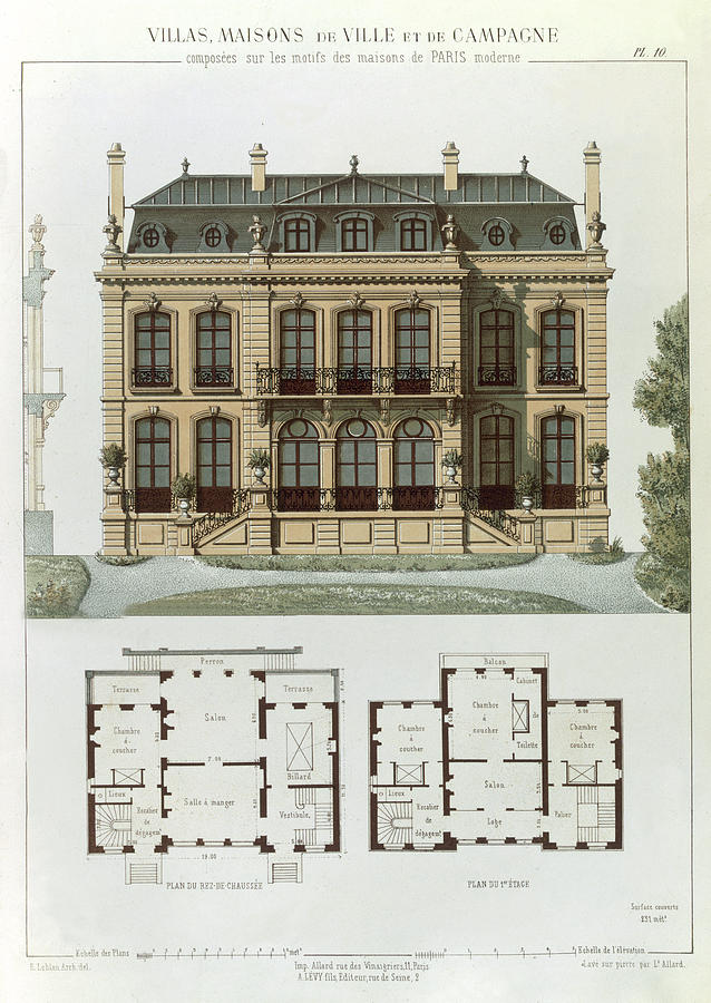 parisian suburban house and plans drawing by leon isabey