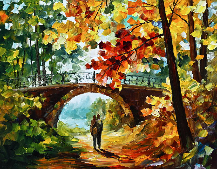 Contemporary abstract original paintings of colorful landscape and man - Park Bridge Painting By Leonid Afremov