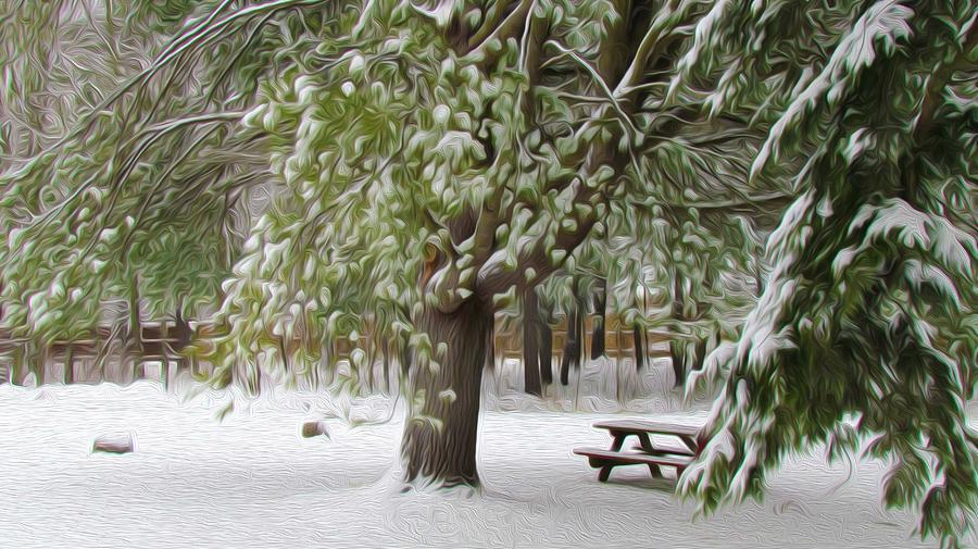 Park In Winter Painting  - Park In Winter Fine Art Print