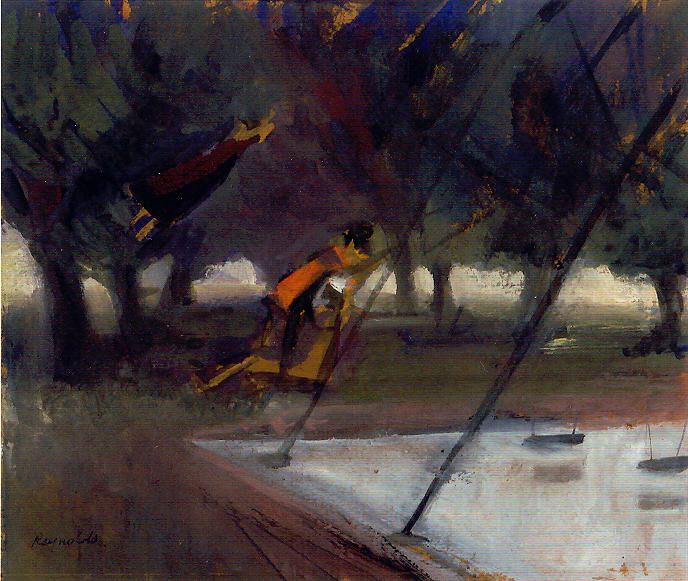 Park Scene Painting - Park Swings by Ted Reynolds