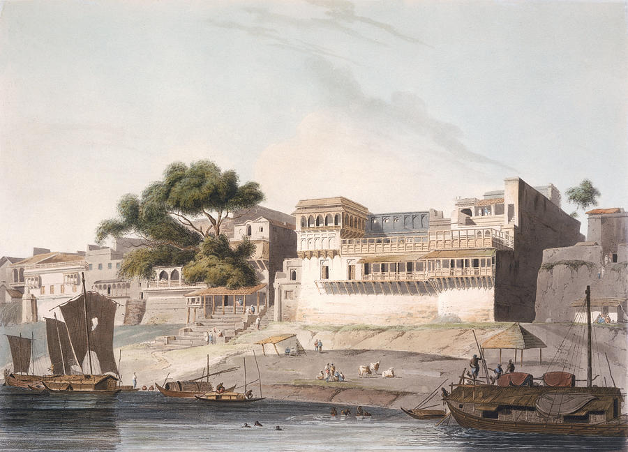 Part Of The City Of Patna, On The River Drawing