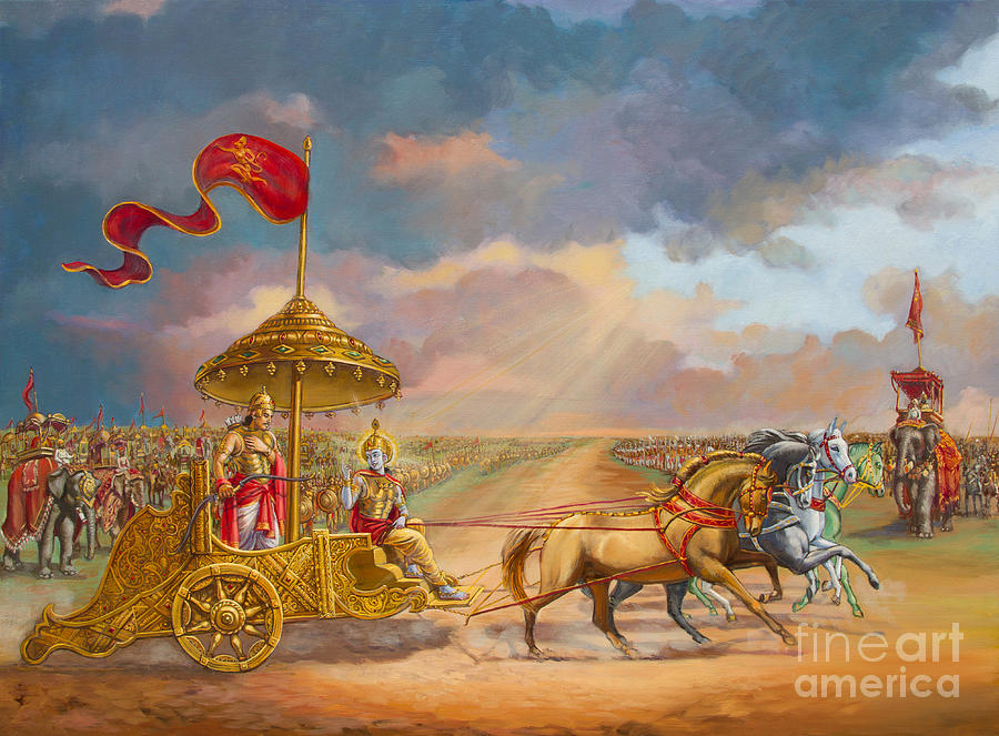 Partha Sarathi  Krishna Speaks The Bhagavad-gita To Arjuna Painting  - Partha Sarathi  Krishna Speaks The Bhagavad-gita To Arjuna Fine Art Print