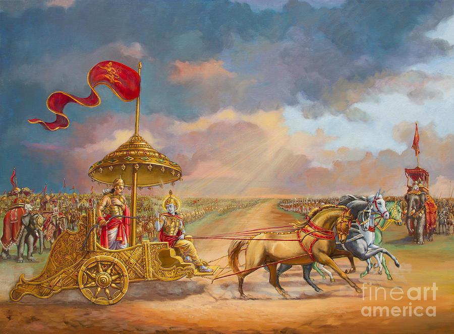 Partha Sarathi  Krishna Speaks The Bhagavad-gita To Arjuna Painting