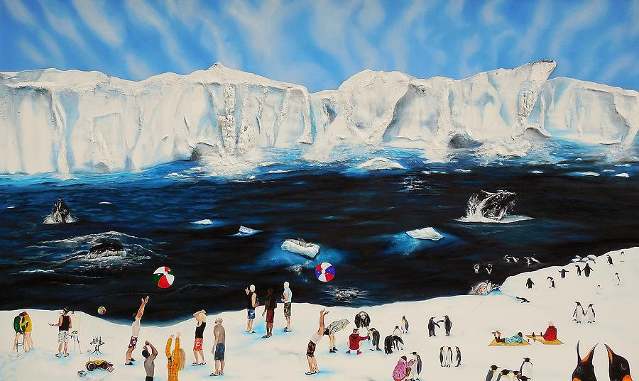 Animals Antarctica Humor Leopard Seals Surrealism Penguins Whales Painting - Party At Antarctic by Raymond Perez
