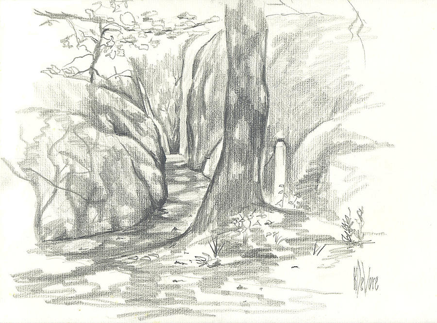 Passageway At Elephant Rocks Drawing  - Passageway At Elephant Rocks Fine Art Print