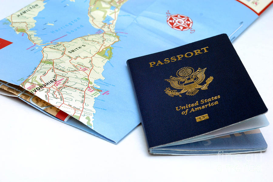 Passport And Map Of Bermuda Photograph  - Passport And Map Of Bermuda Fine Art Print